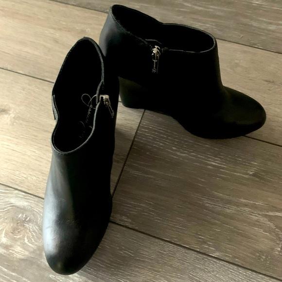 Black Leather Jessica Simpson Wedge Booties